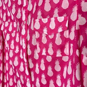 Talbots Tops - Talbots size small pink pineapple blouse cotton